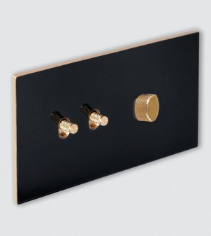 Placa eléctrica con interruptor con manecilla y atenuador
