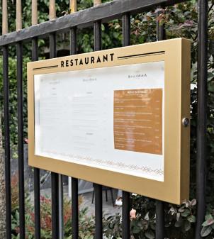 Exhibidor de carta menú para exterior con luz y llave