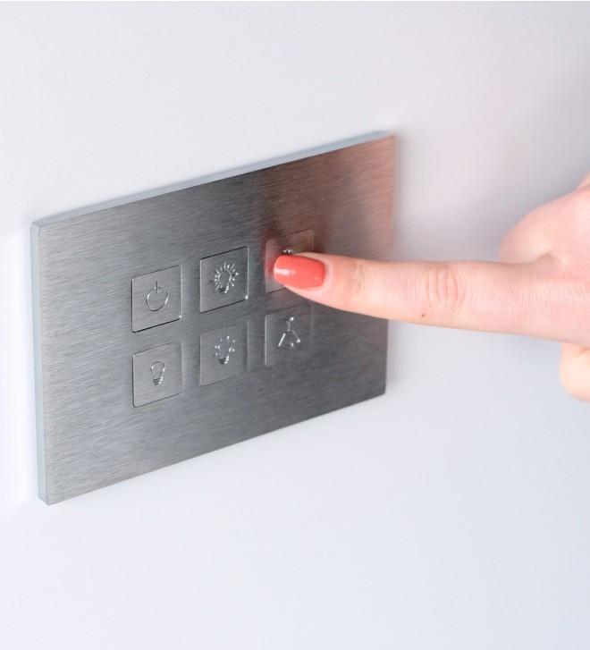 Mecanismos en acero inoxidable con botones