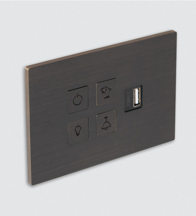 Placas interruptores con botón y USB