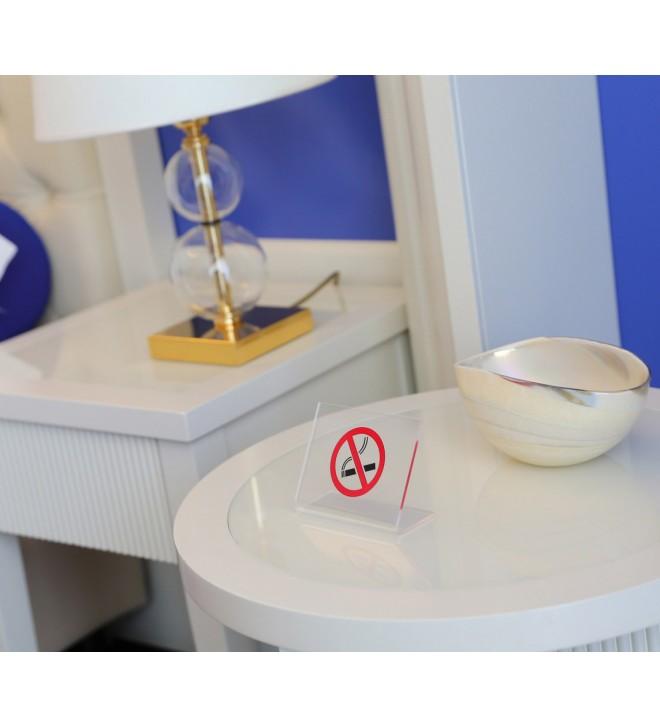 Segnatavolo trasparente simbolo no-smoking