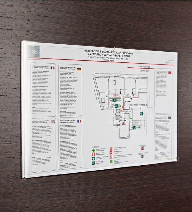 Exhibidor para información de seguridad, de conformidad con la normativa legal