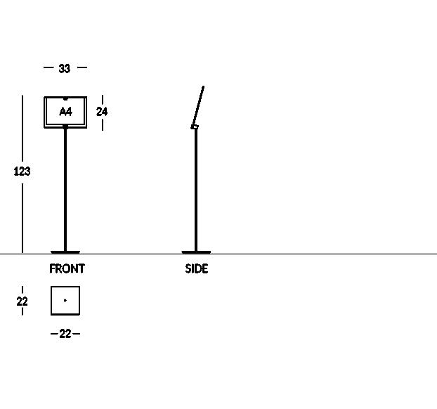 Soporte para señalización e información, de acero satinado, con compartimento de plexiglás para formato A4 horizontal.