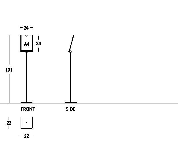 Soporte para señalización e información, de acero satinado, con compartimento de plexiglás para formato A4 vertical.