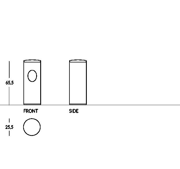 Tacho/paragüero con tapa superior y orificio lateral