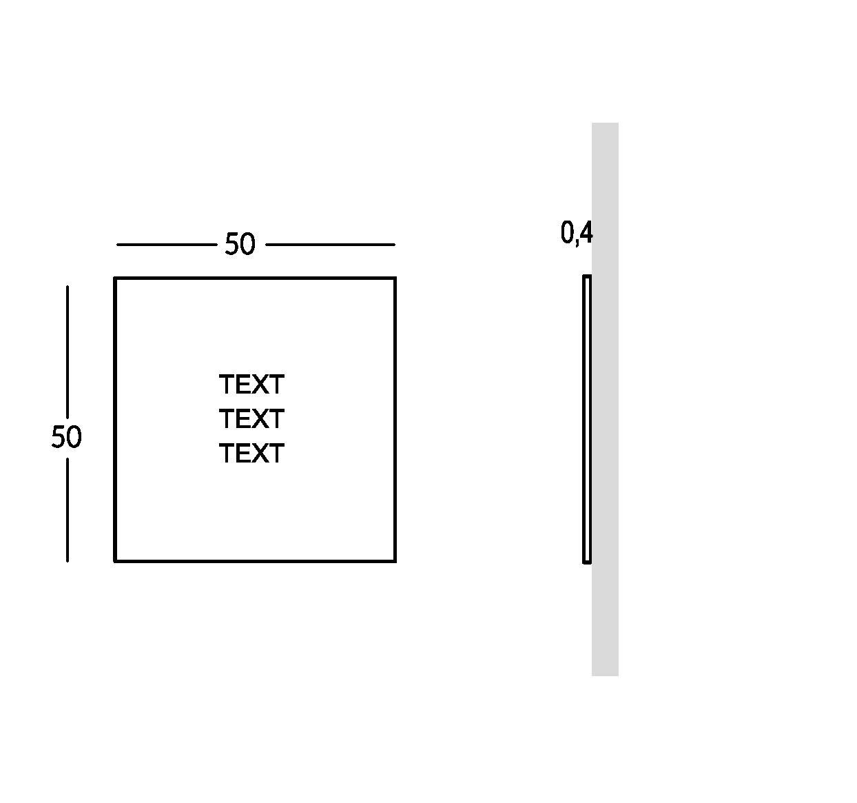 Placa para exterior con letras estarcidas y rellenas. Versión mediana.