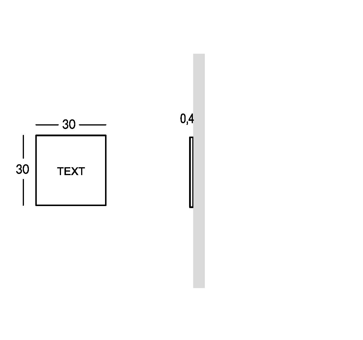 Placa para exterior con letras estarcidas y rellenas. Versión XS.
