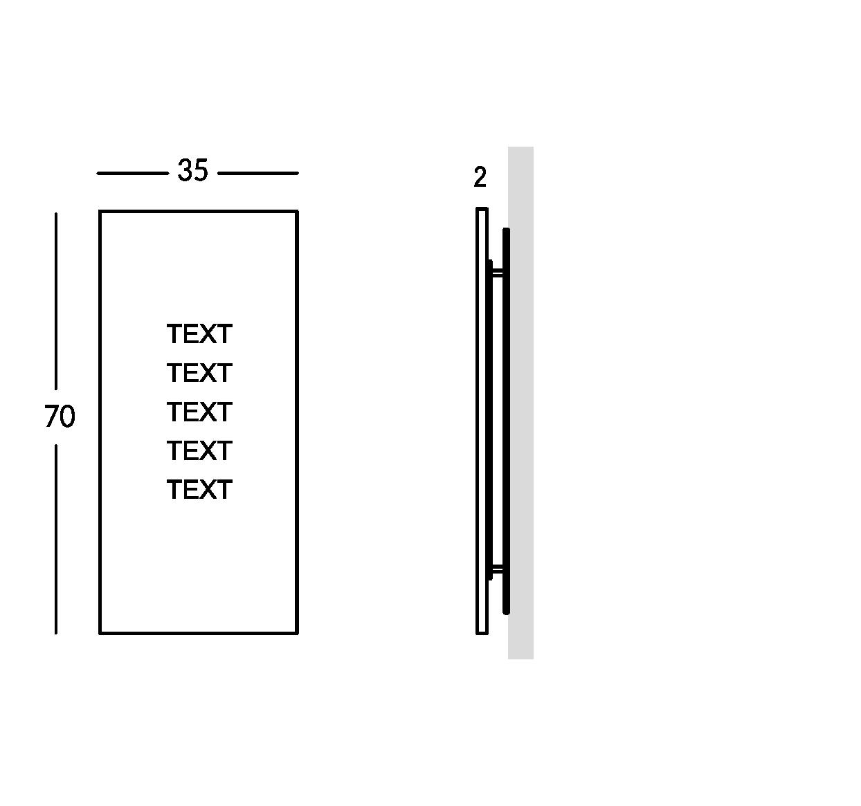 Señalización en plexiglas con letras grabadas. Versión grande.
