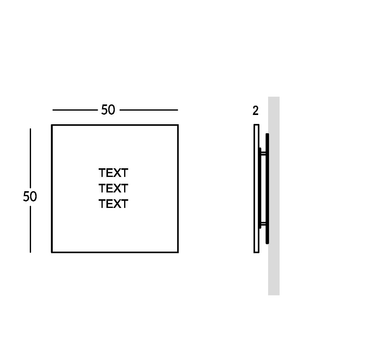Señalización en plexiglas con letras grabadas. Versión mediana.