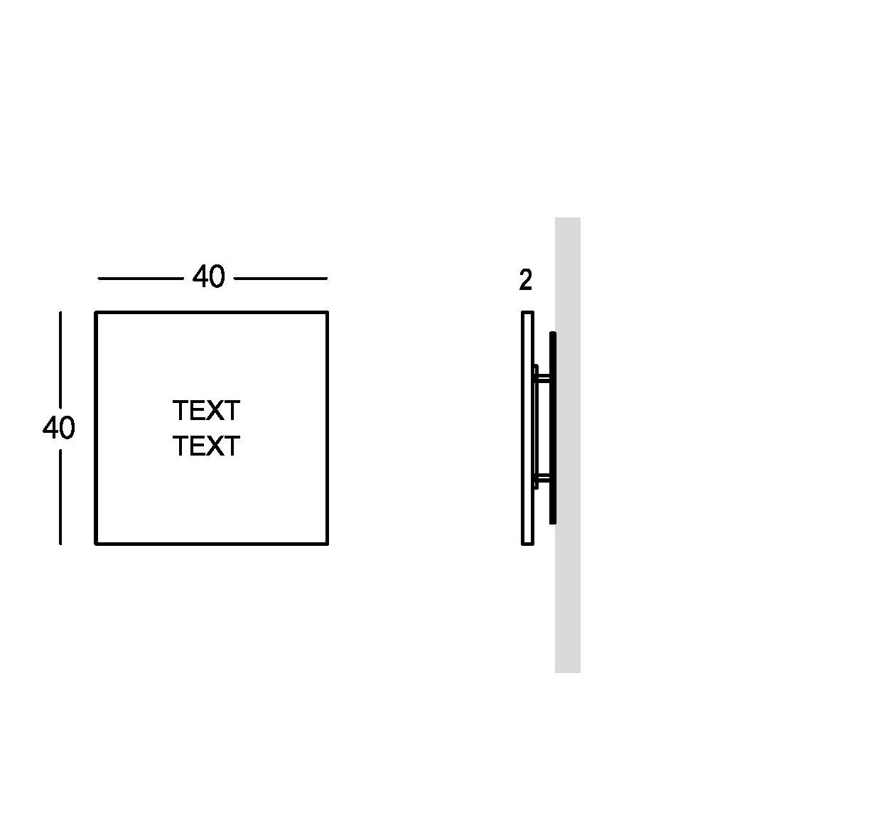 Señalización en plexiglas con letras grabadas. Versión pequeña.