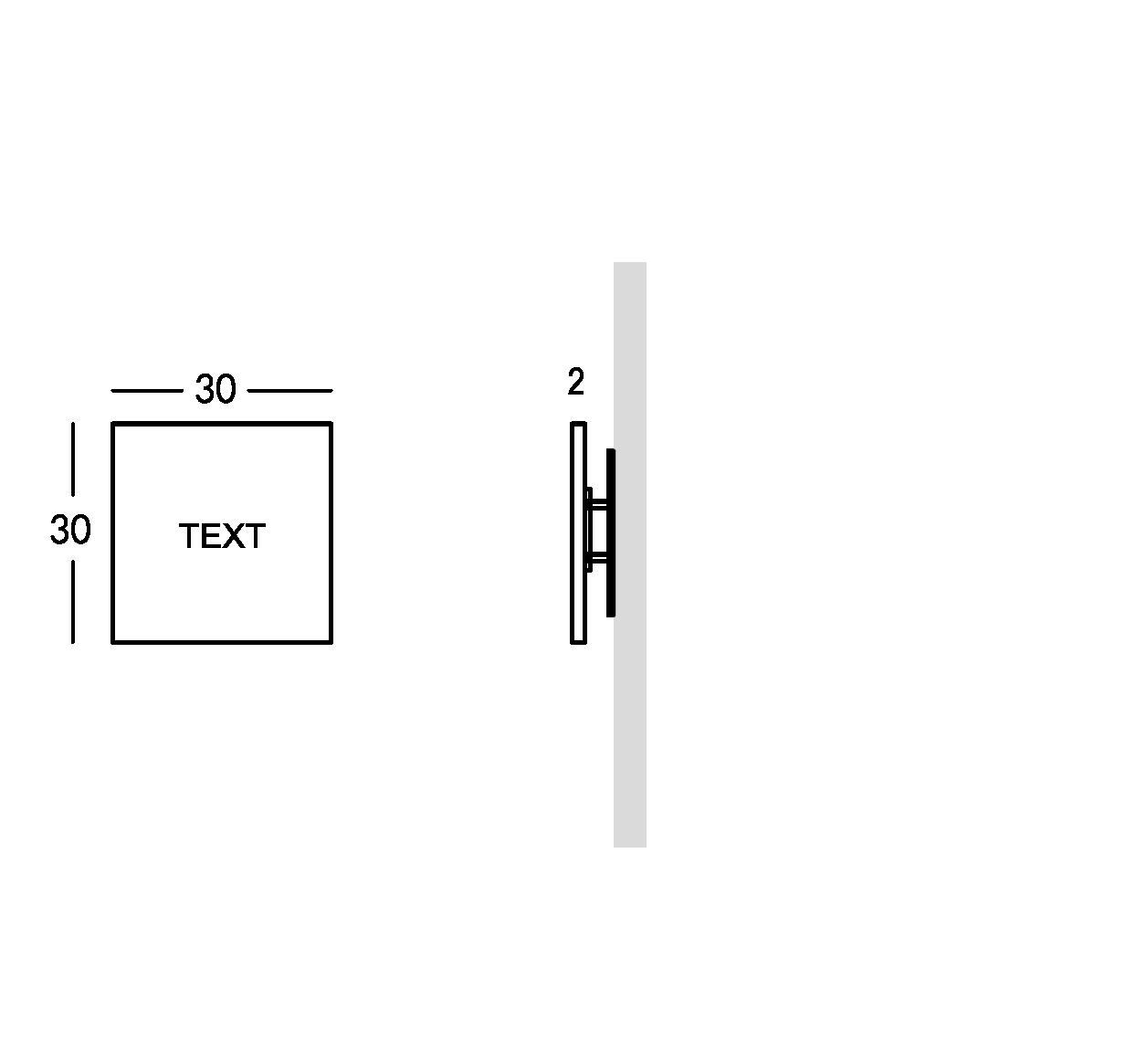 Señalización en plexiglas con letras grabadas. Versión XS.