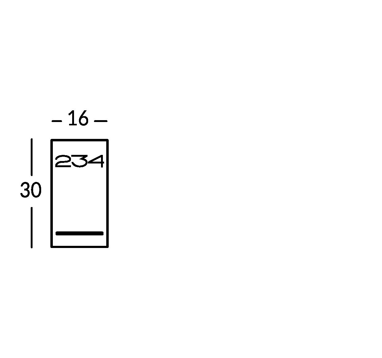 Línea de señalización de metal con caracteres estarcidos y soporte de plexiglas.