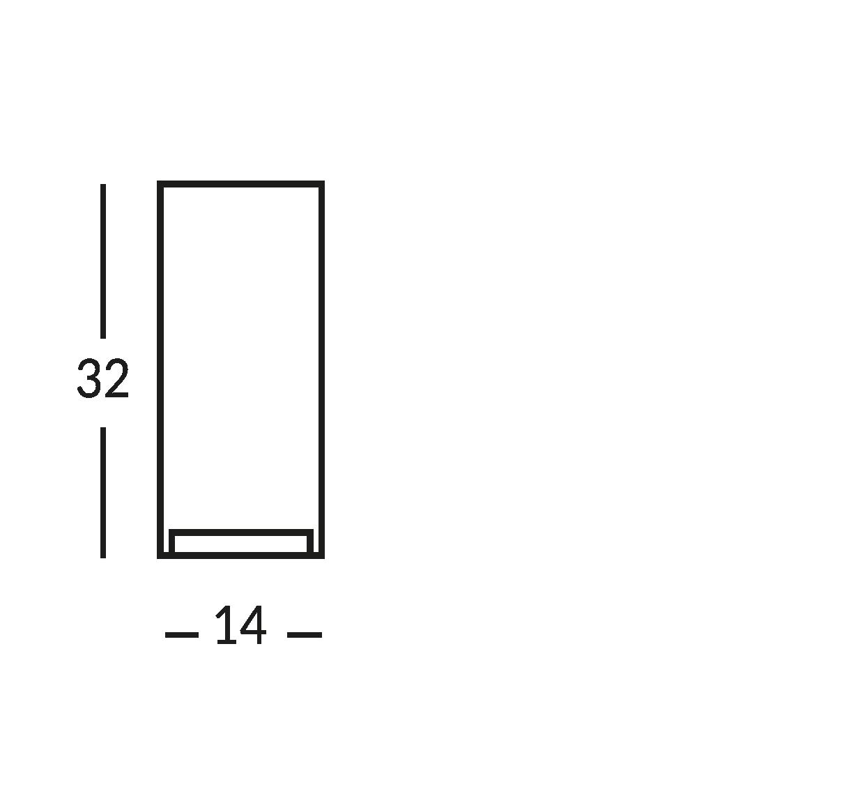 Señal impresa en cristal transparente. cm 14x32