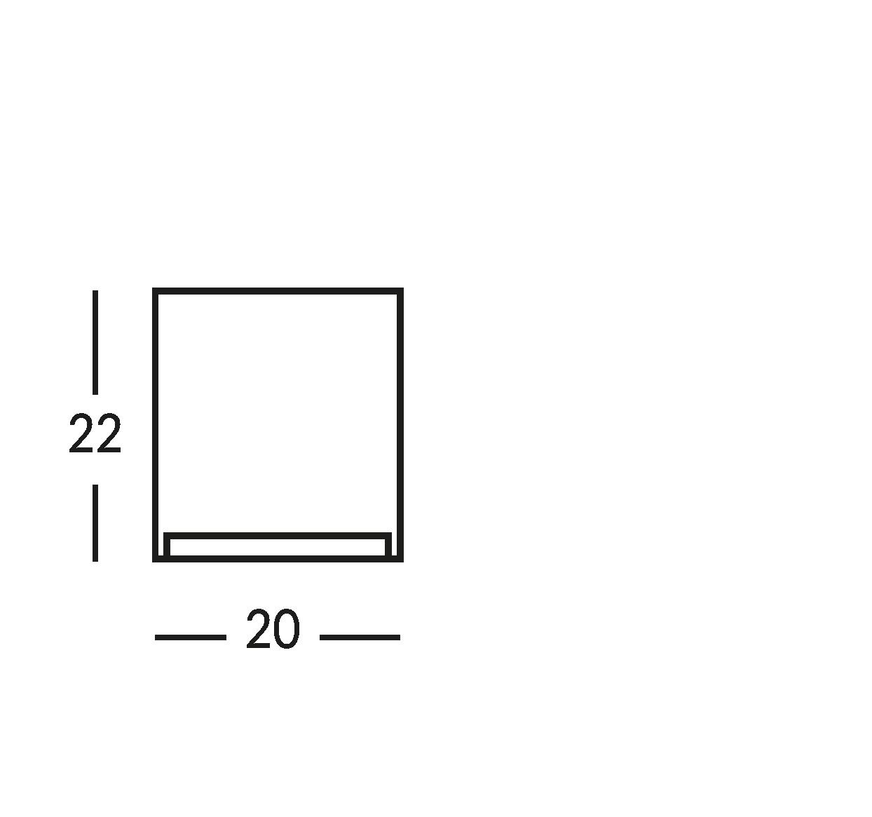 Señal impresa en cristal transparente. cm 20x22