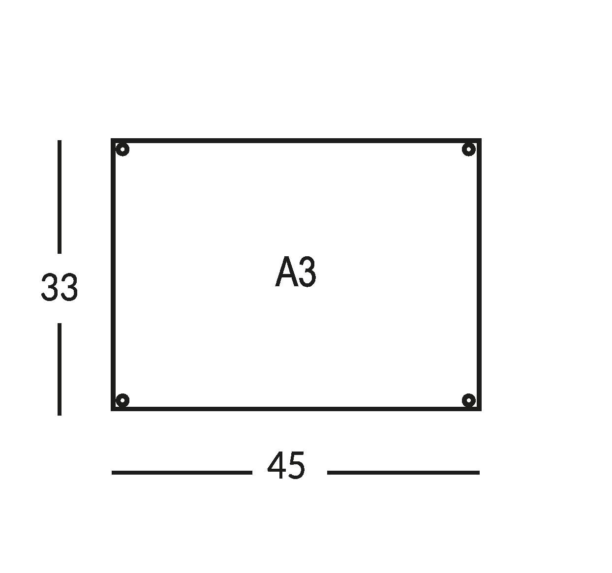 Placa soporte para mapa de seguridad, tamaño A3